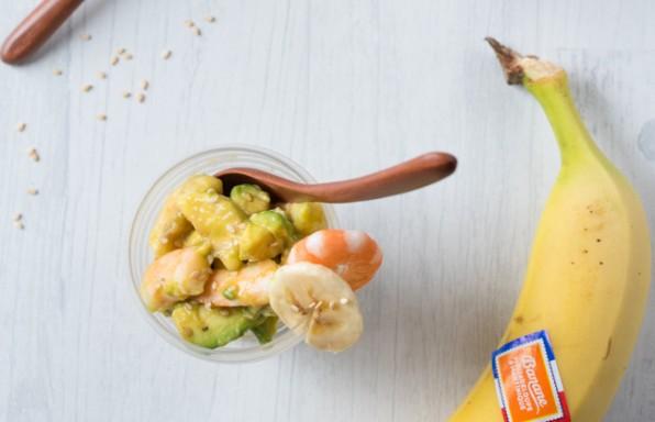 verrines bananes avocats crevettes