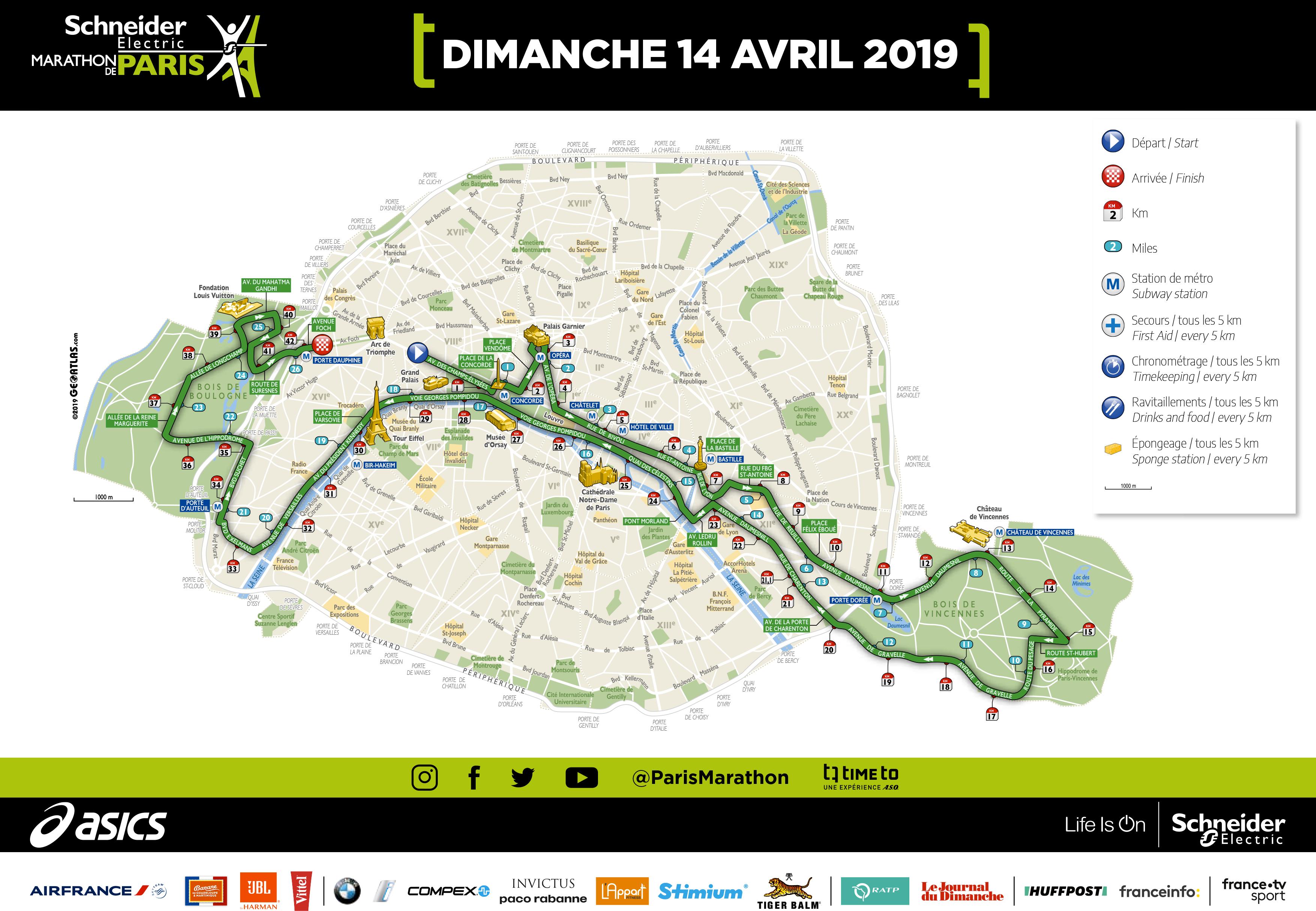 Parcours Schneider Electric Marathon de Paris